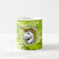 Angry Unicorn; bright green camo, camouflage Coffee Mug