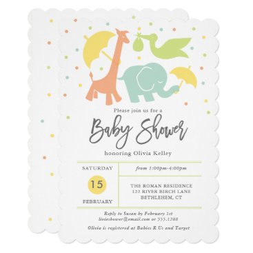 Animal Baby Shower, Gender Neutral Invitation