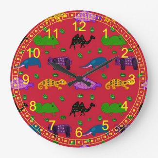 Animals - Abstract Purple Turtles & Blue Elephants Clock