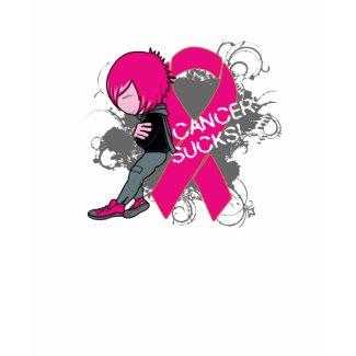 Animated Boy Cancer Sucks - Breast Cancer shirt