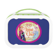 Anna and Elsa with Floral Frame Lunch Box