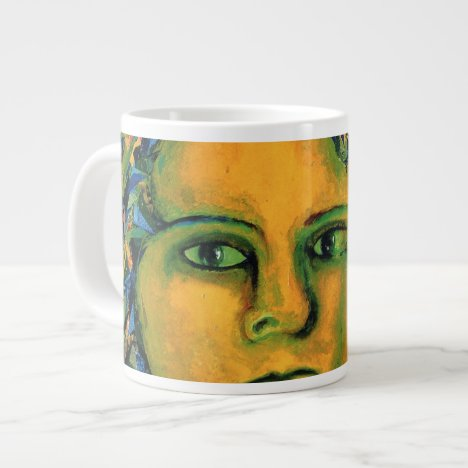 Anticipation - Gold and Emerald Goddess Large Coffee Mug