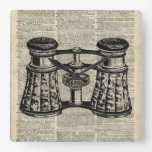 Antique Binoculars On Old Vintage Dictionary Page Square Wallclocks