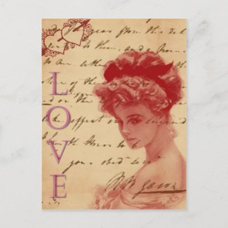 Antique Love Letter Post Card postcard