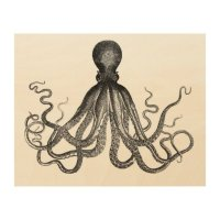 Antique Nautical Steampunk Octopus Vintage Kraken Wood ...