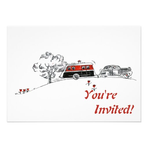Antique RV Camper and Car Drawing 5x7 Paper Invitation