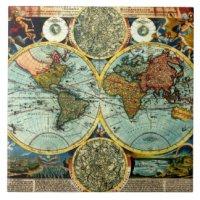 Antique World Map Ceramic Tiles | Zazzle