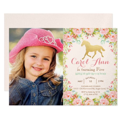 ANY AGE/ADD PHOTO - Horse Birthday Invitation
