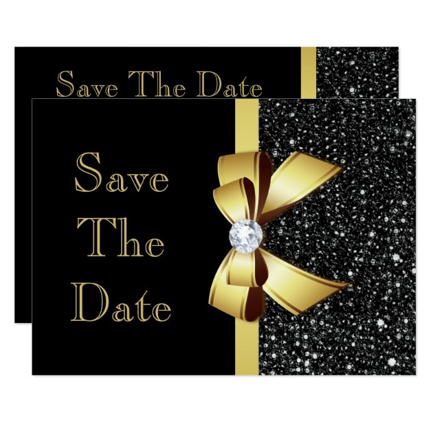 Any Age Birthday Save The Date Black And Gold Card Zazzle