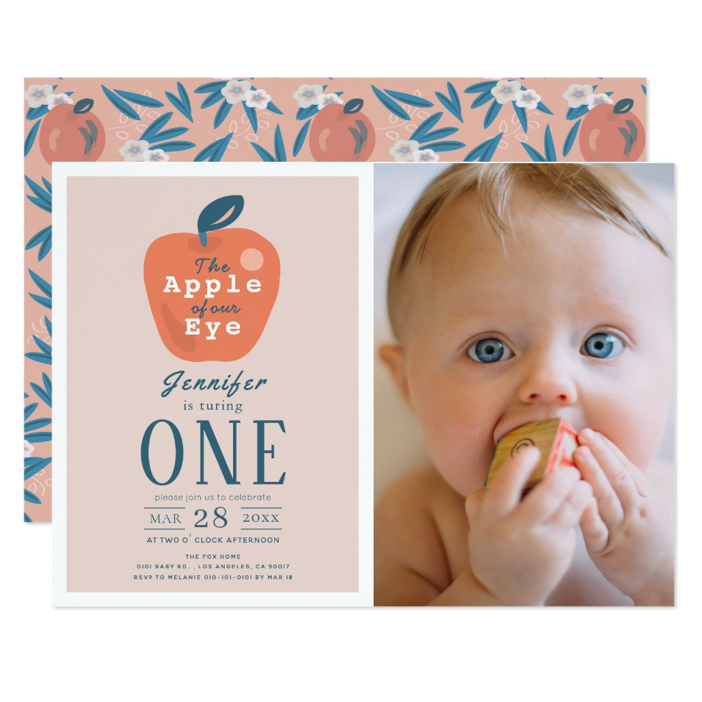 Apple of our Eye Girl Pink Photo 1st Birthday Invitation