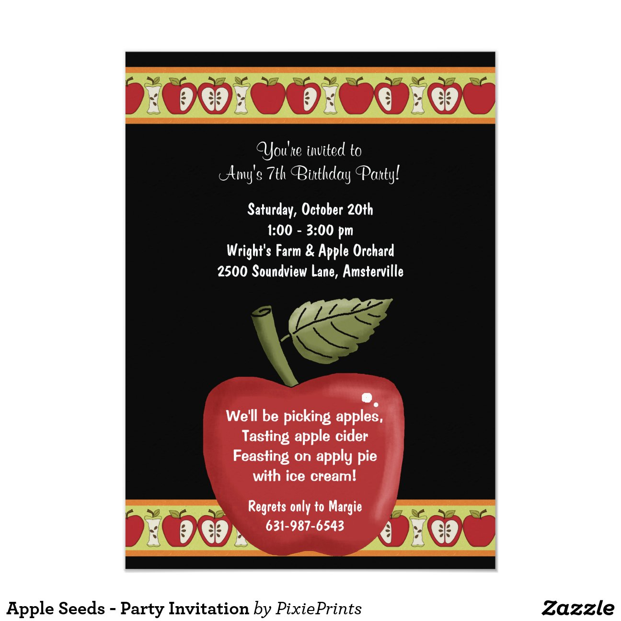 Apple Seeds Party Invitation