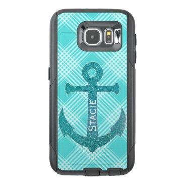 Aqua Blue Anchor Otterbox Samsung S6 Case