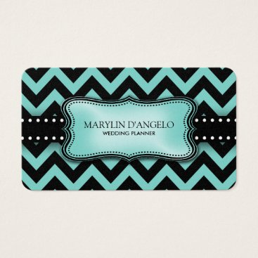 Aqua Blue and Black Chevron Wedding Planner Business Card