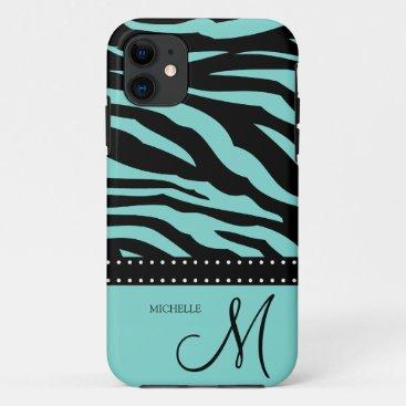 Aqua Blue and Black Zebra Patterns iPhone 11 Case