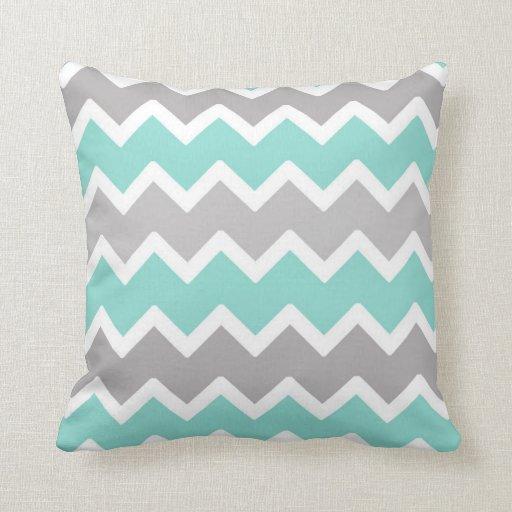 Aqua Blue and Gray Grey Chevron Throw Pillow  Zazzle