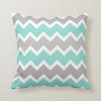 Aqua Blue and Gray Grey Chevron Throw Pillow | Zazzle