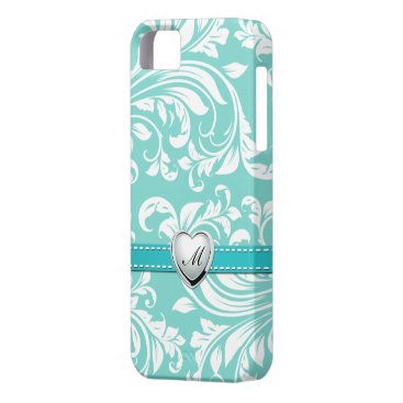 Aqua Blue and White Damask Pattern with Monogram iPhone SE/5/5s Case