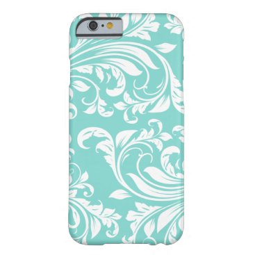 Aqua Blue and White Damasked Pattern Barely There iPhone 6 Case
