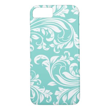 Aqua Blue and White Damasked Pattern iPhone 7 Case