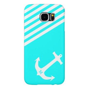 Aqua Blue Nautical Anchor with Monogram Samsung Galaxy S6 Case
