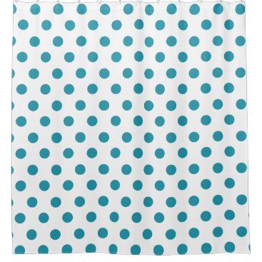 Aqua Blue Polka-Dots on white background Shower Curtain