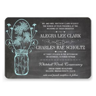 Aqua Chalkboard Mason Jar Vintage Typography Invitation