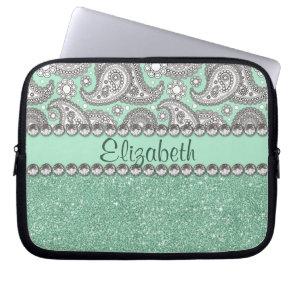Aqua Glitter Paisley Rhinestone Print Pattern Laptop Computer Sleeve