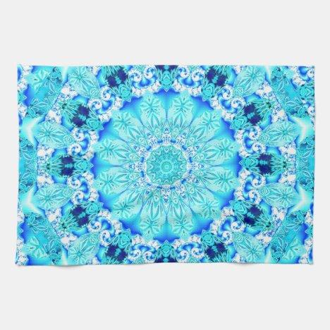 Aqua Lace, Delicate, Abstract Mandala Kitchen Towel