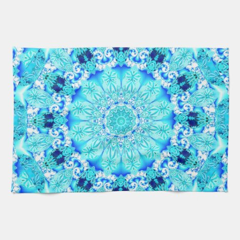 Aqua Lace, Delicate, Abstract Mandala Kitchen Towel