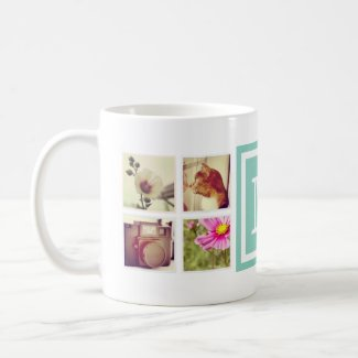 Aqua Monogram Instagram Photo Collage Mug