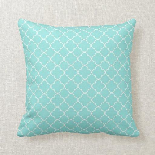 Aqua Quatrefoil Pattern Decorative Pillow  Zazzle