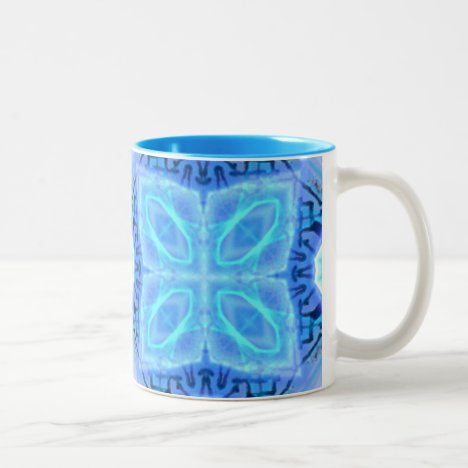 Aqua Royal Blue Hawaiian Quilt Two-Tone Coffee Mug