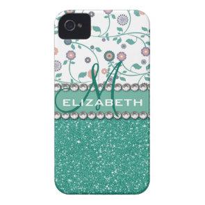 Aqua Turqoise Monogram Flower Glitter Pattern iPhone 4 Cases