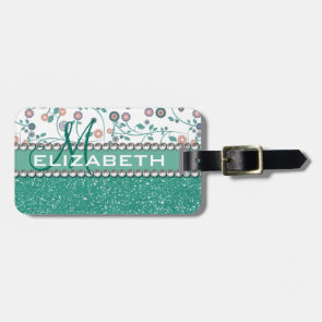 Aqua Turqoise Monogram Flower Glitter Pattern Travel Bag Tag