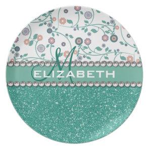 Aqua Turqoise Monogram Flower Glitter Pattern Plates
