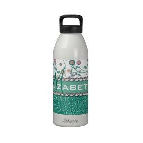 Aqua Turqoise Monogram Flower Glitter Pattern Reusable Water Bottle