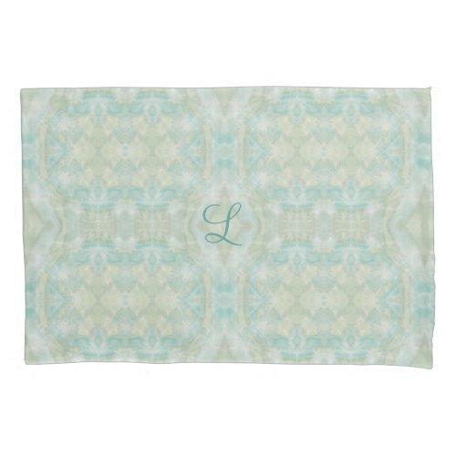 Aqua Turquoise Monogram Pillowcase