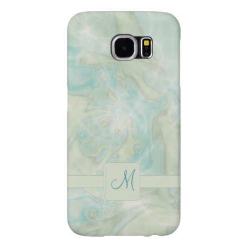 Aqua Turquoise Monogram Samsung Galaxy S6 Cases