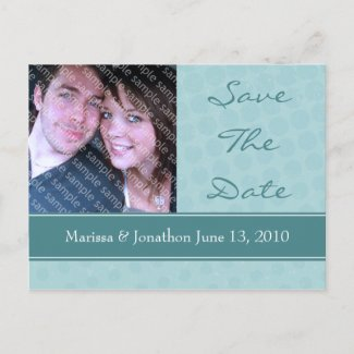 Aqua Urban Elegance Photo Save The Date Postcards postcard
