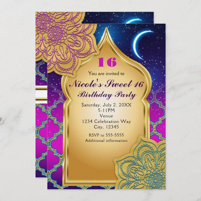 arabian nights glam gold purple birthday party invitation zazzle com