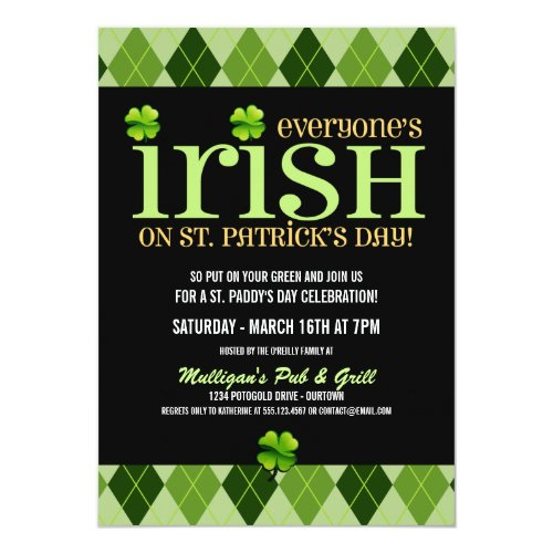 Argyle St. Patricks Day Party Invitations