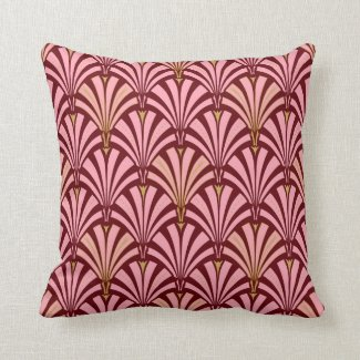 Art Deco fan pattern - pink and maroon