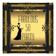 ART DECO Gatsby Fabulous 50 50th Birthday Party Invitation