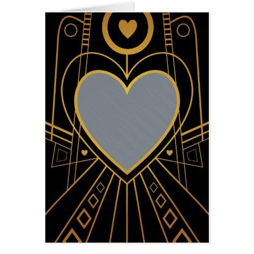 Art Deco Love Heart Border Card Zazzle