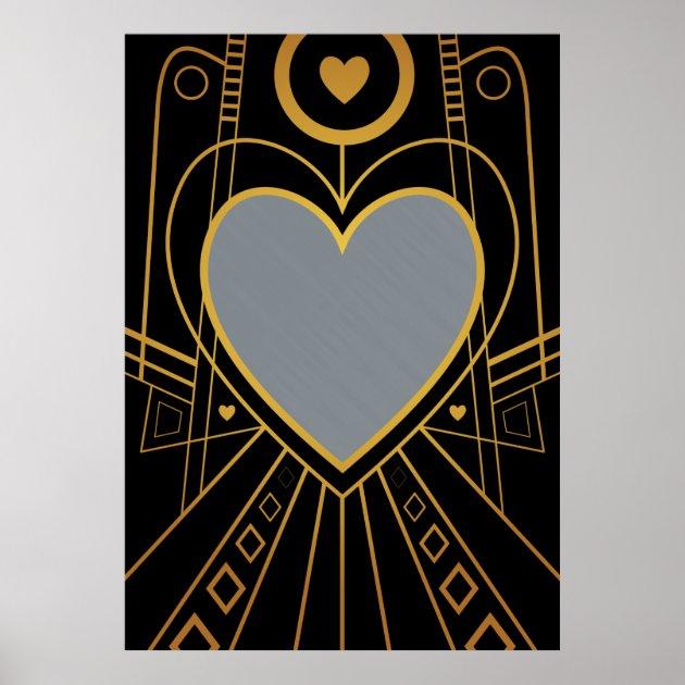 Art Deco Love Heart Border Poster Zazzle