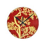 art nouveau,deco,asian,gold,red,vintage,rustic, round wallclocks