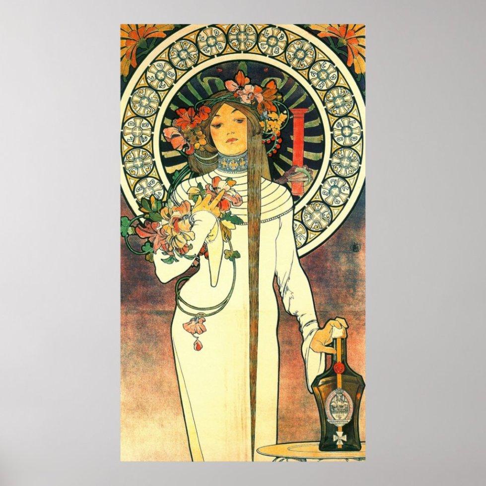 Art Nouveau Liqueur Ad 1898 Poster