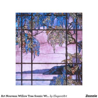 Art Nouveau Willow Tree Scenic Window Design Canvas Print
