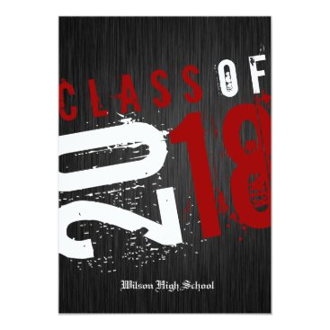 Artistic Black, White and Red Class of 2018 Card