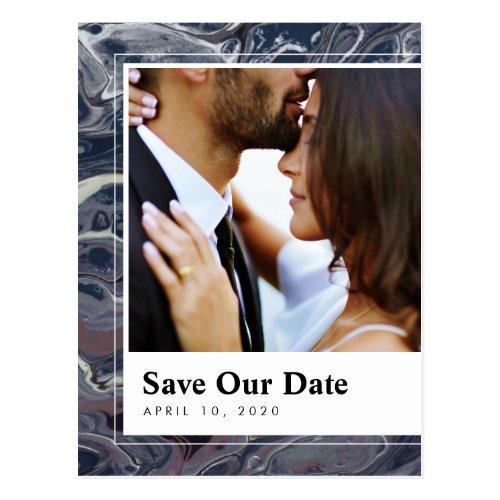 Artistic Boho Blue Marble Save the Date Postcard